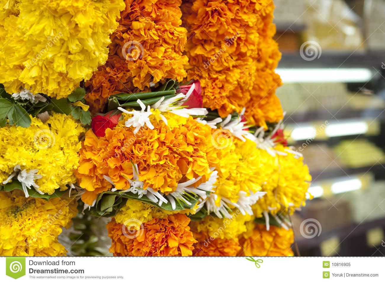 Flower Garlands Near A Temple In India Stock Image Image