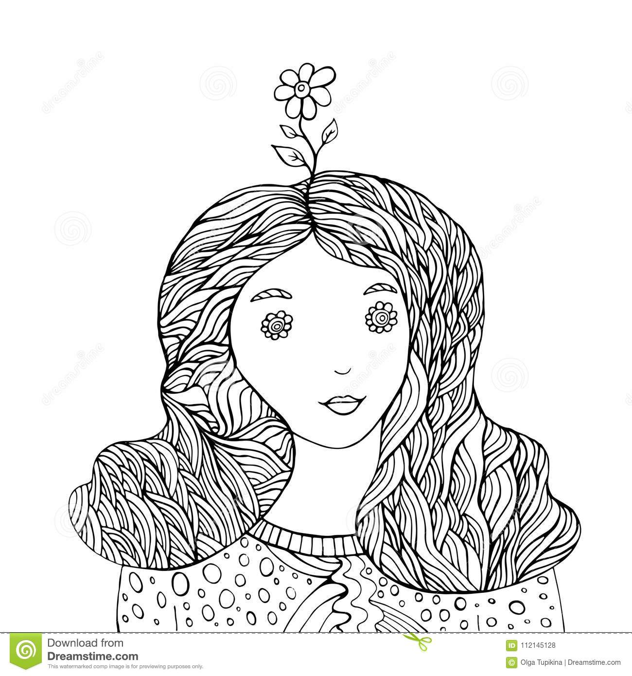 Flower Girl Fantasy Coloring Book Stock Vector - Illustration of ...