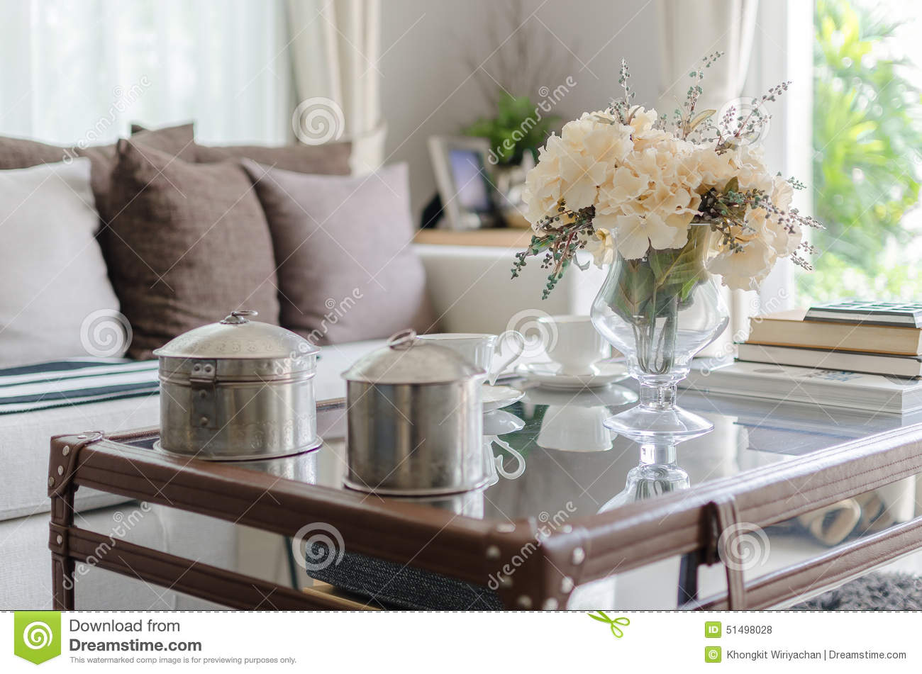 Living Room Vase flower in glass vase on table in living room stock photo - image