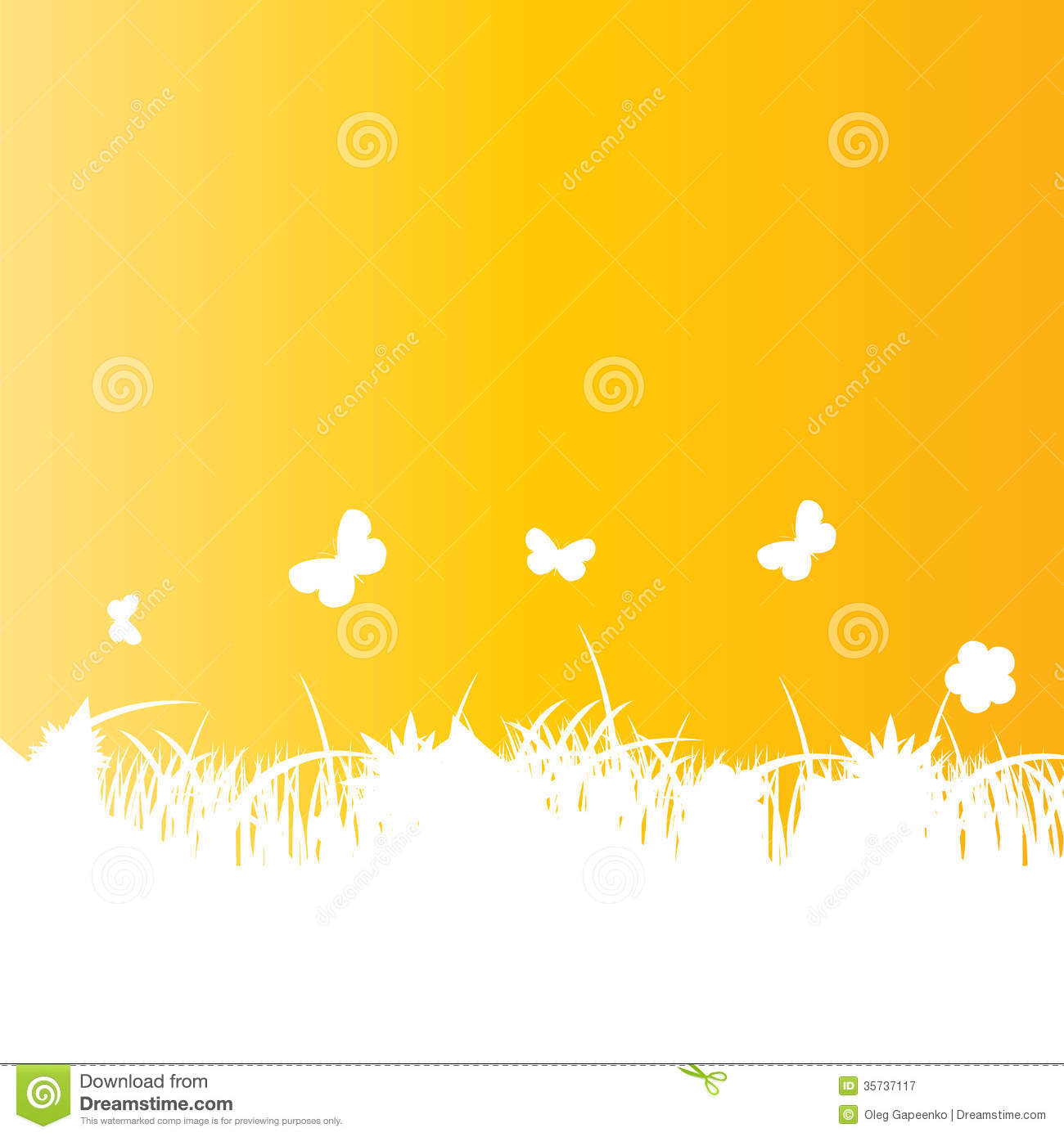 Flower And Grass Banner. Vector Illustration Royalty Free Stock ...