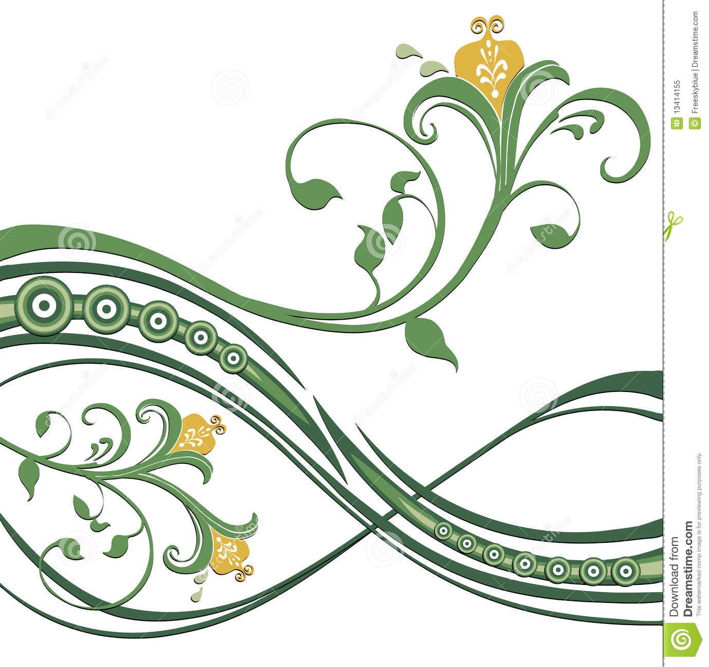 Black Flower And Vines Pattern Royalty Free Stock Image: Flower And Green Vines Pattern Royalty Free Stock Photo