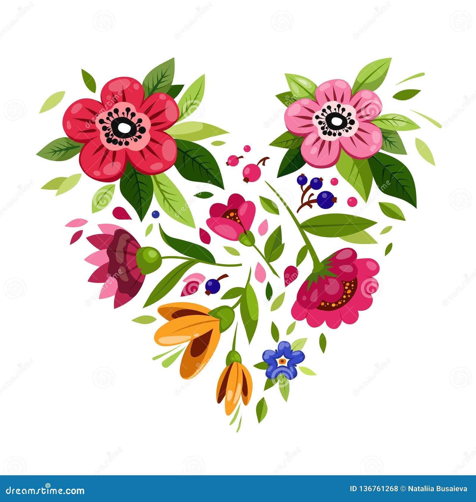 Flower Heart Heart From Flowers Vector Illustration For Holiday