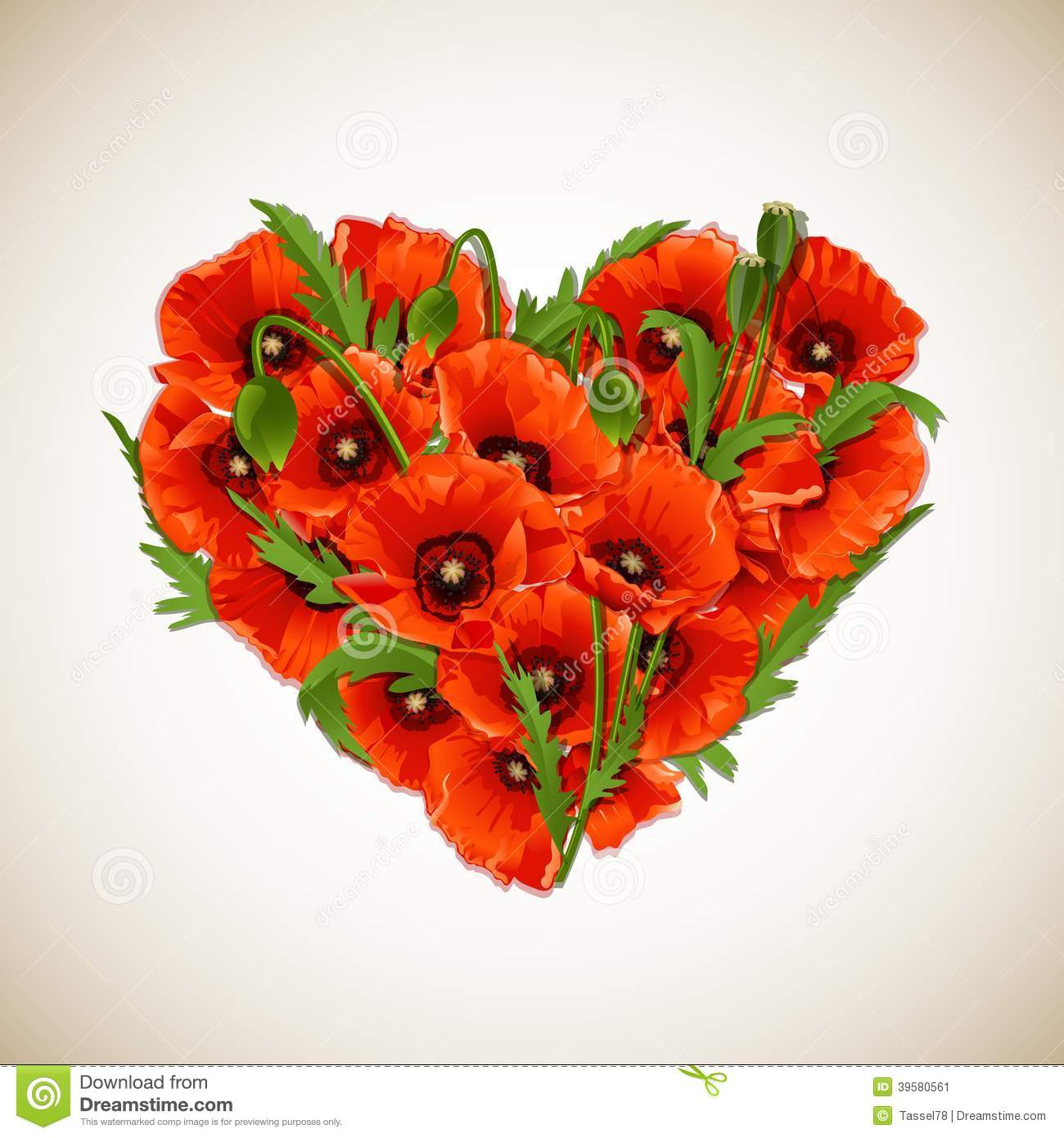 Flower Heart Of Red Poppies. Stock Vector - Image: 39580561