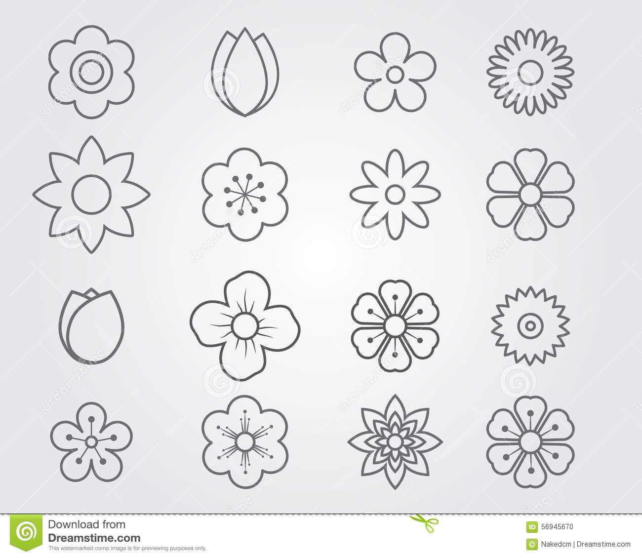 Flower Line Drawing Icon : Flower icon line set stock vector image of element