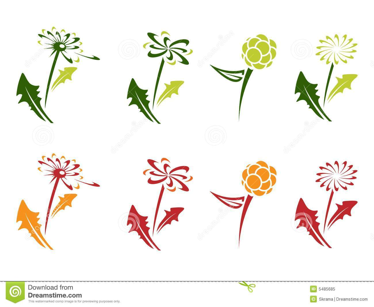 Dandelion symbol for logotype with leafs.