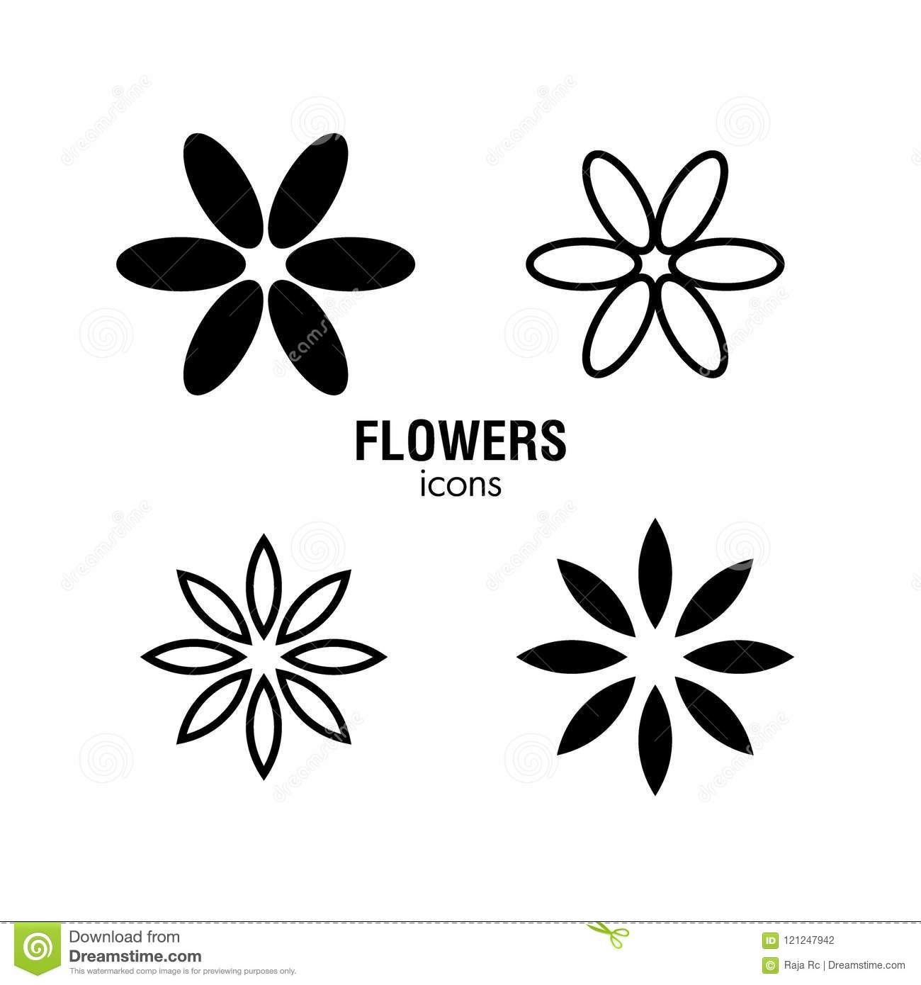 Flower Icon Set Black And White Stock Vector Illustration Of