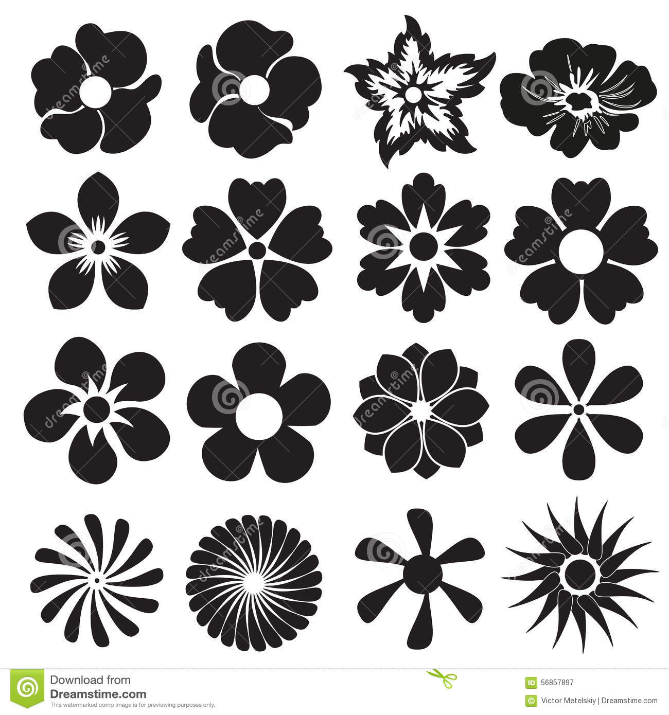 Flower Icon Or Sign Set Vector Design Elements Stock