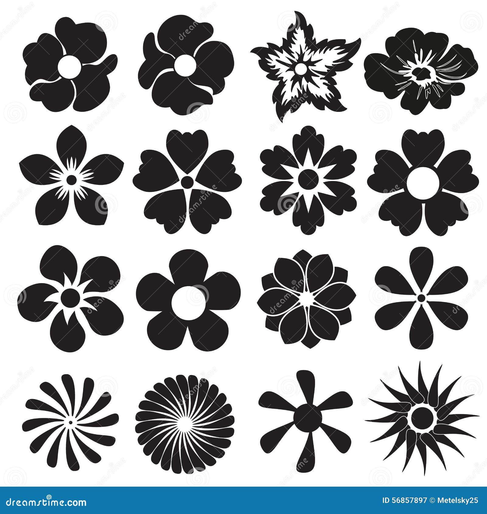 Set Of Black Flower Design Elements Stock Vector: Flower Icon Or Sign Set. Vector Design Elements. Stock