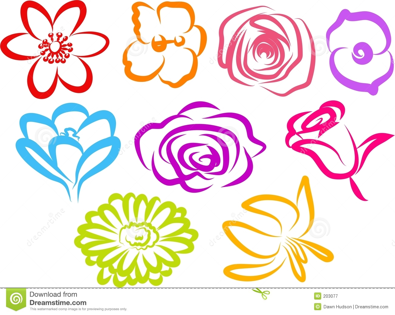 Flower Icons Royalty Free Stock Photography - Image: 203077