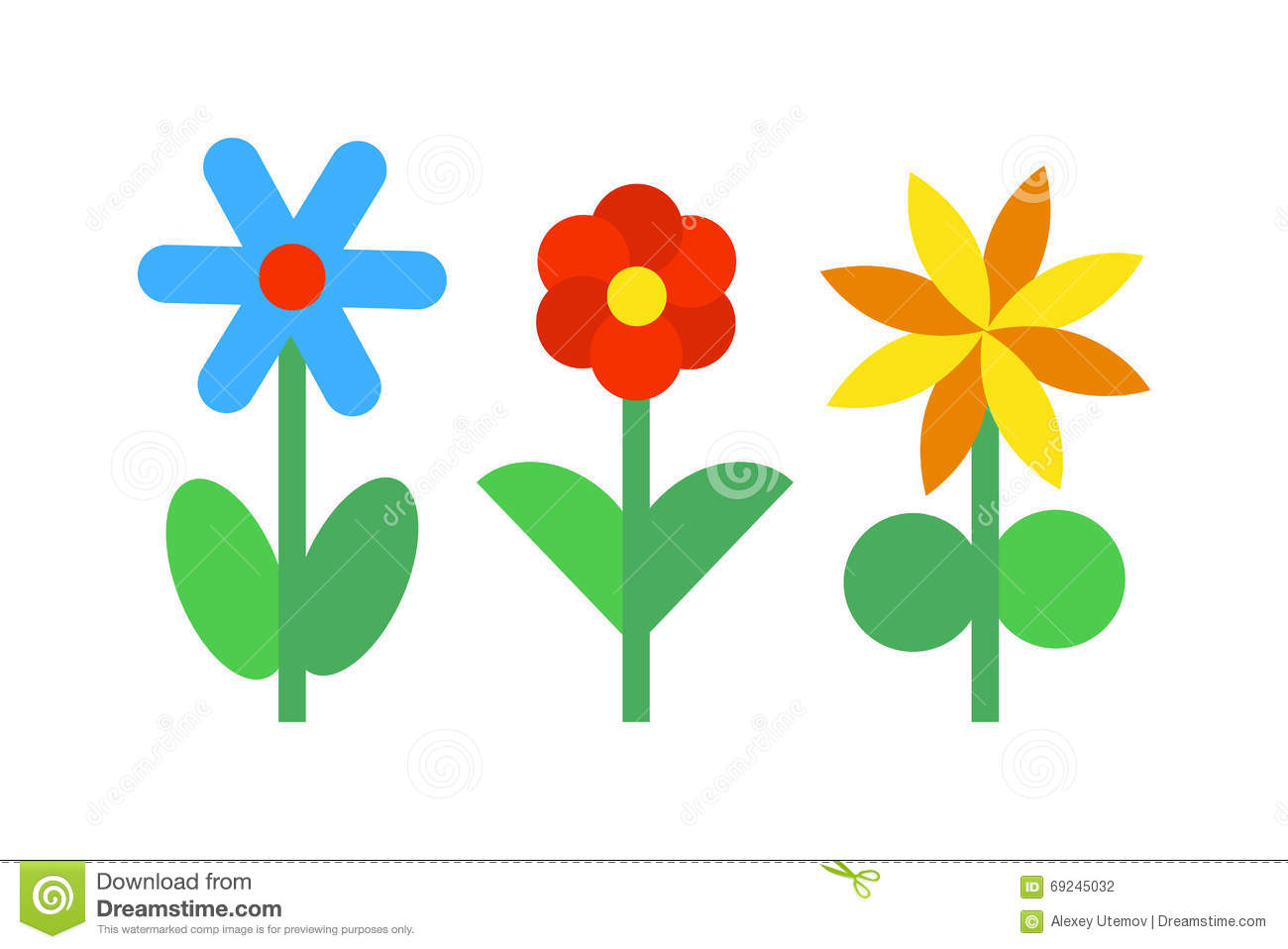 Abstract Flower Icons Stock Vector: Flower Icons Colorful Plants Nature Flat Vector. Stock