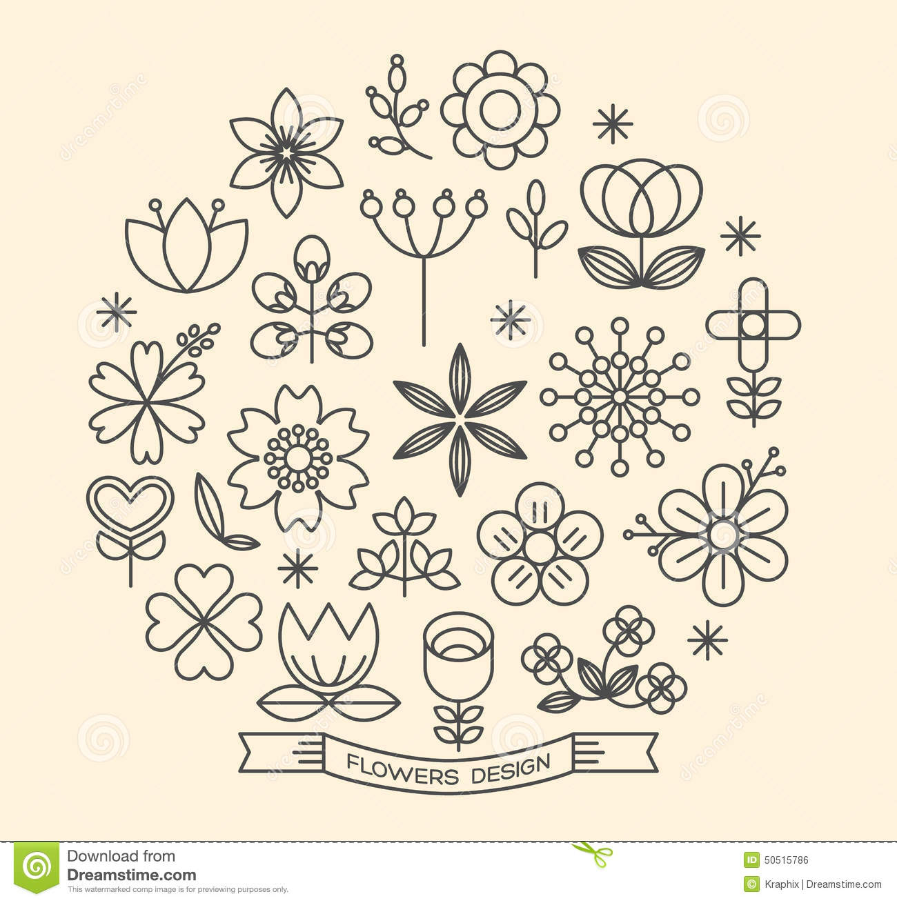 Flower Icons Outline Style Vector Stock Vector - Illustration of ...