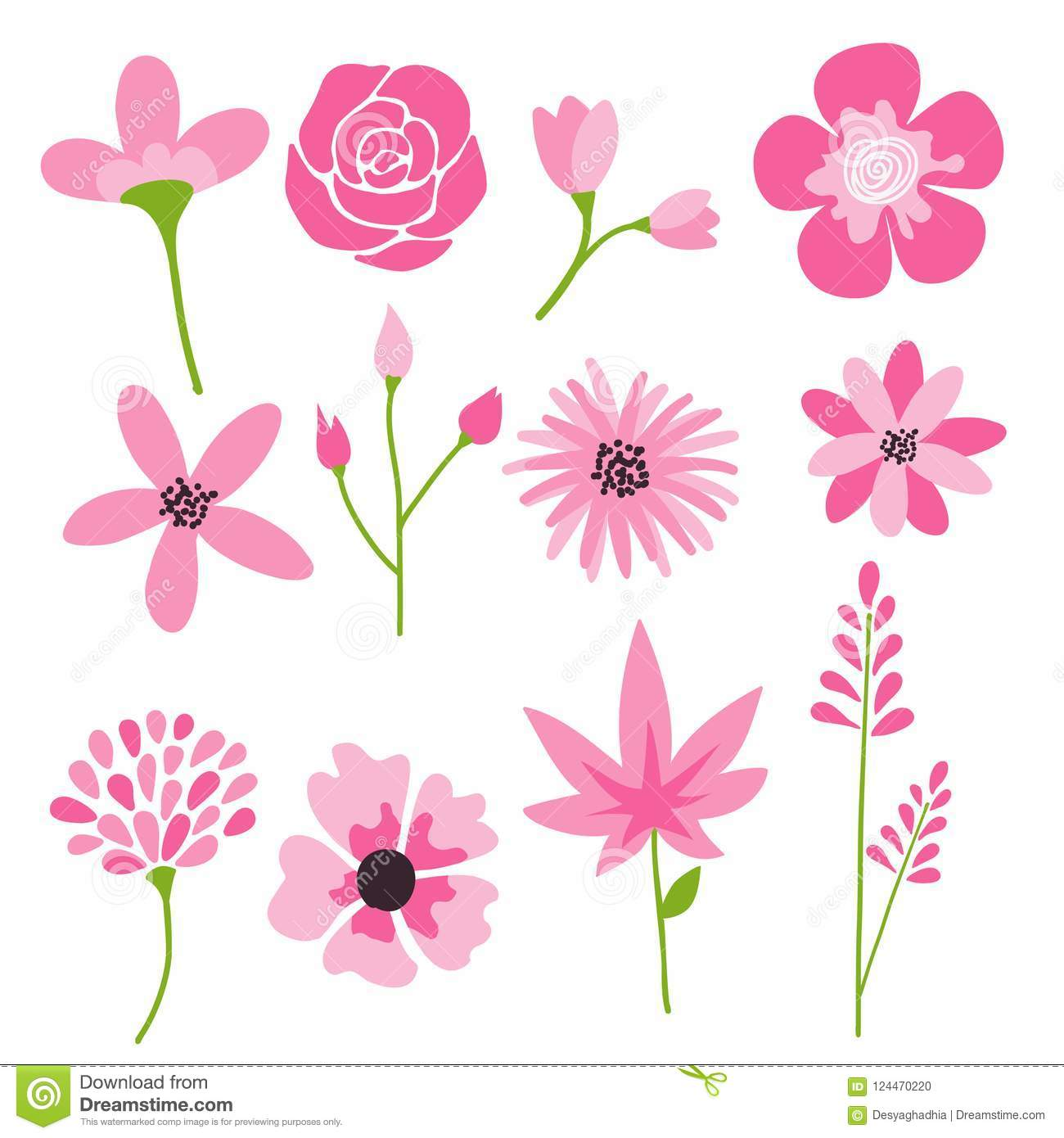 Flower icons set, vector collection of floral elements.