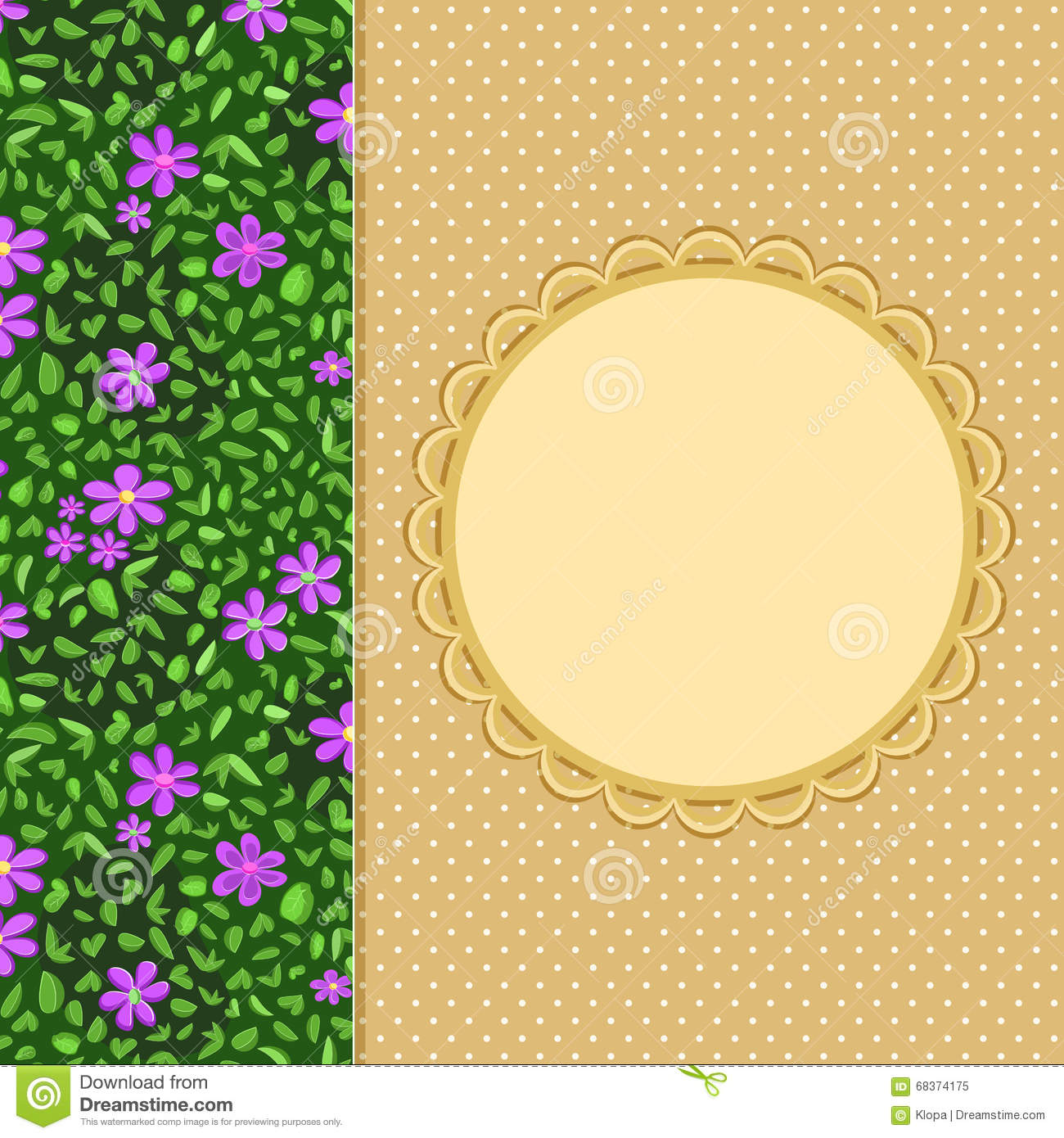 Flower invitation card with round label stock vector illustration flower invitation card with round label stopboris Image collections