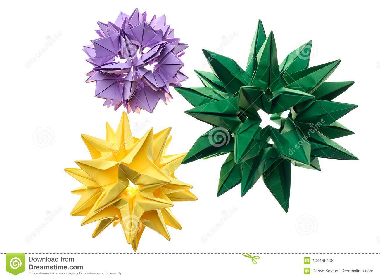 Flower Kusudama Models On White Stock Photo Image Of Exposition