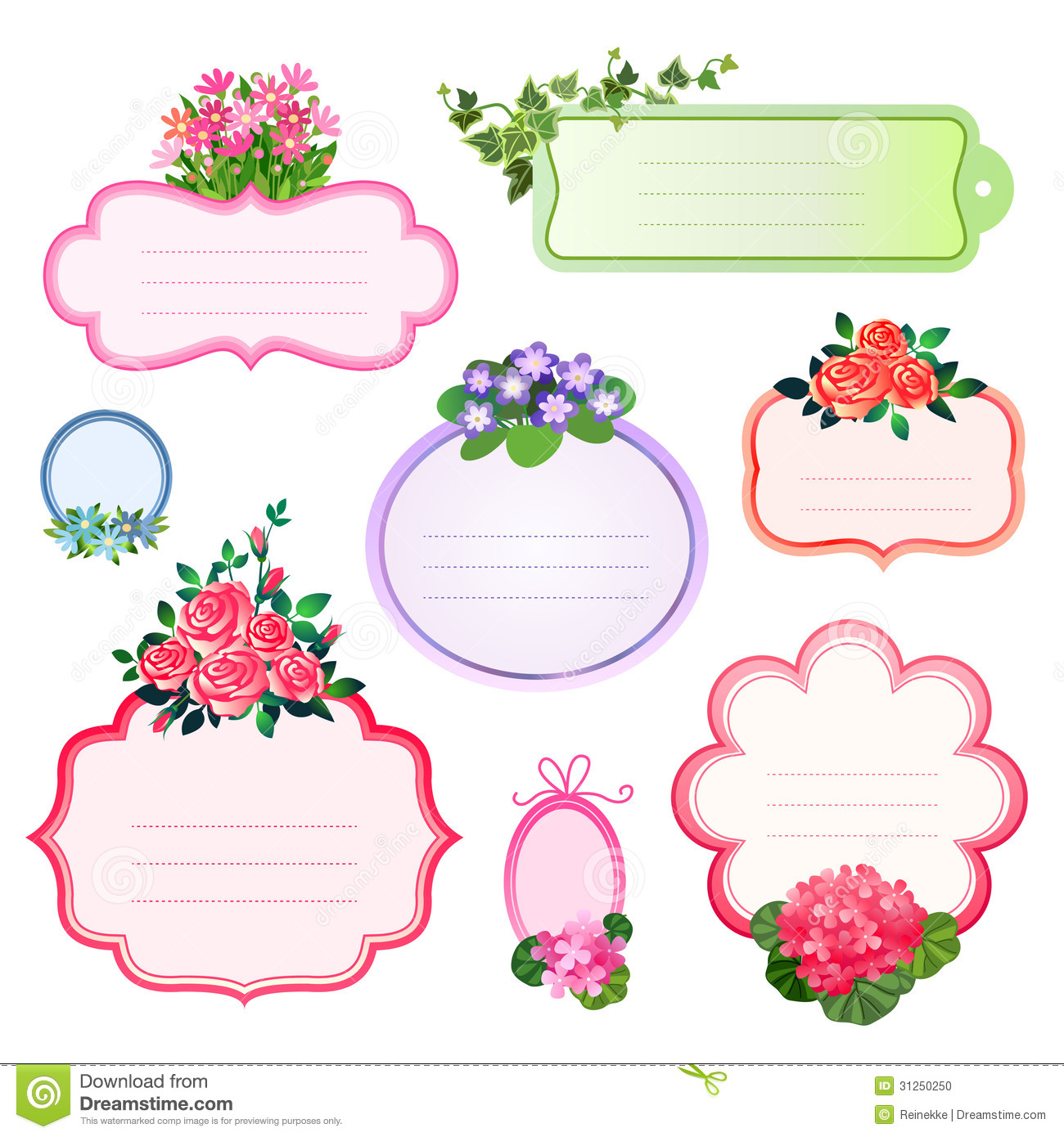 flower labels stock vector illustration of nature. Black Bedroom Furniture Sets. Home Design Ideas
