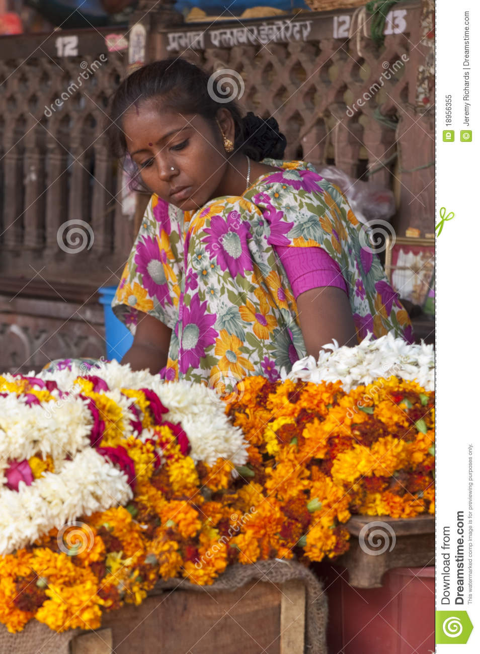 Flower Lady Editorial Image Image Of Female Indian 18956355