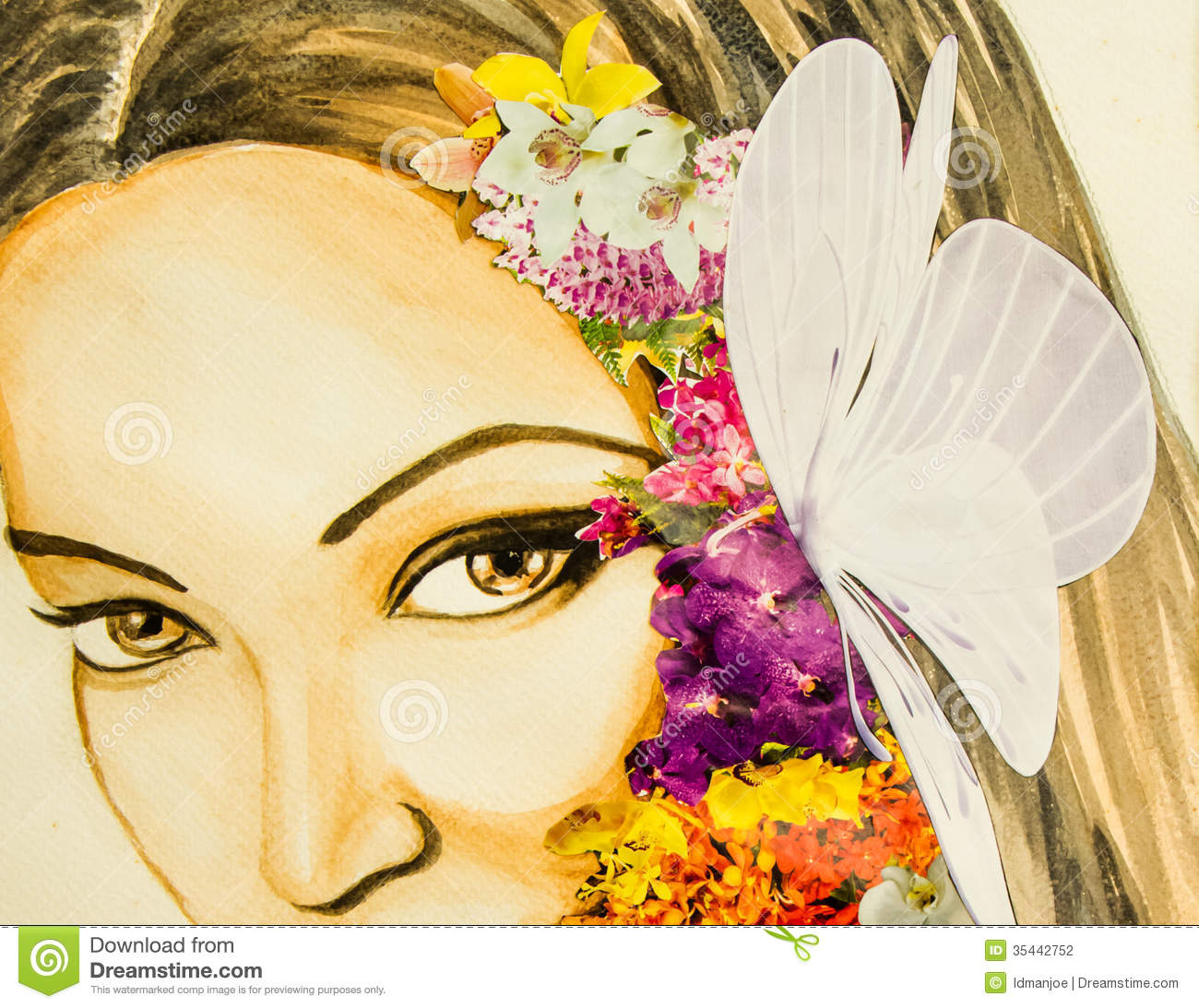 Flower Lady Stock Illustration Image Of Fine Drawing