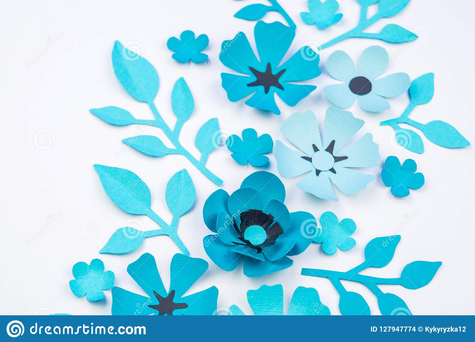 Flower And Leaf Of Blue Color Made Of Paper Stock Photo Image Of