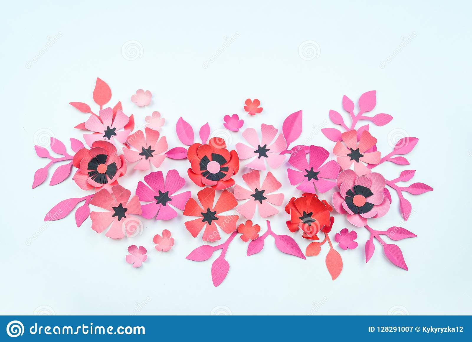 Flower And Leaf Pink And Black Color Made Of Paper Stock Image