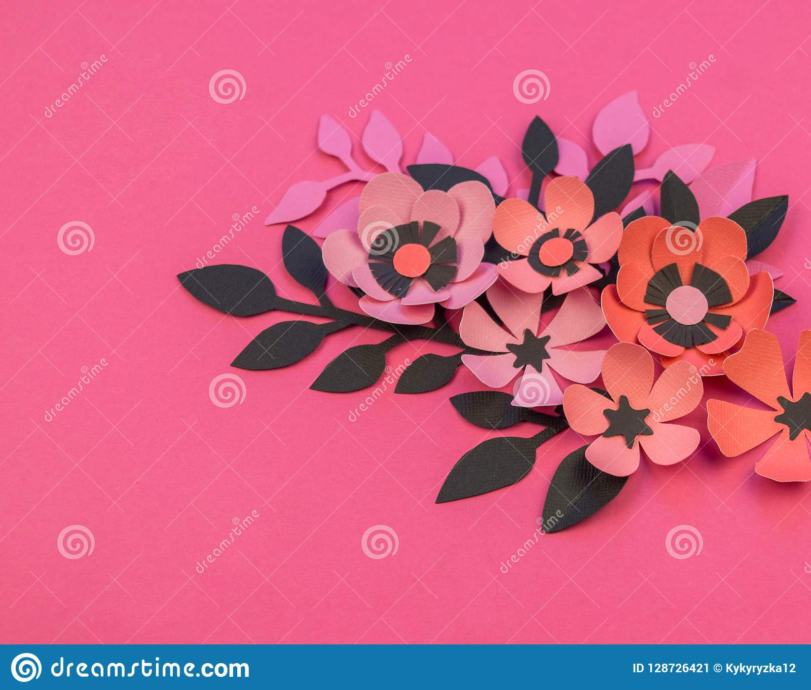 Flower And Leaves Of Paper Pink Background Stock Image Image Of