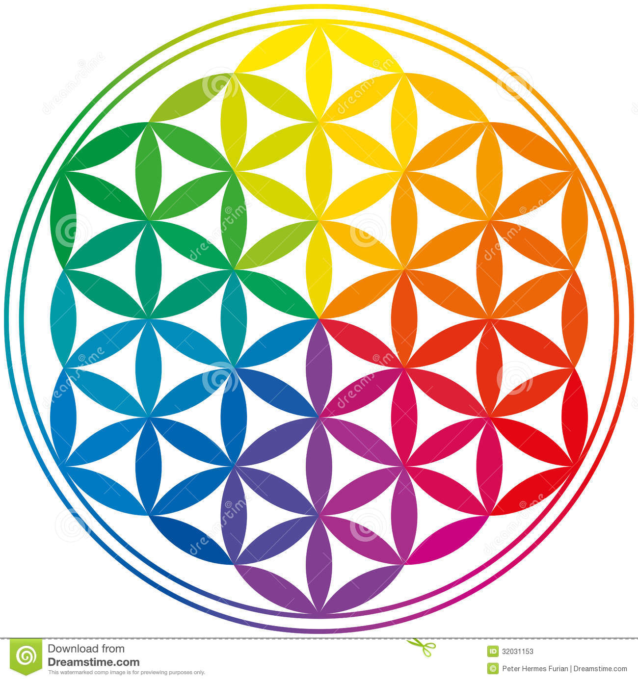 Coloring Flower Of Life : Flower of life rainbow colors stock photos image