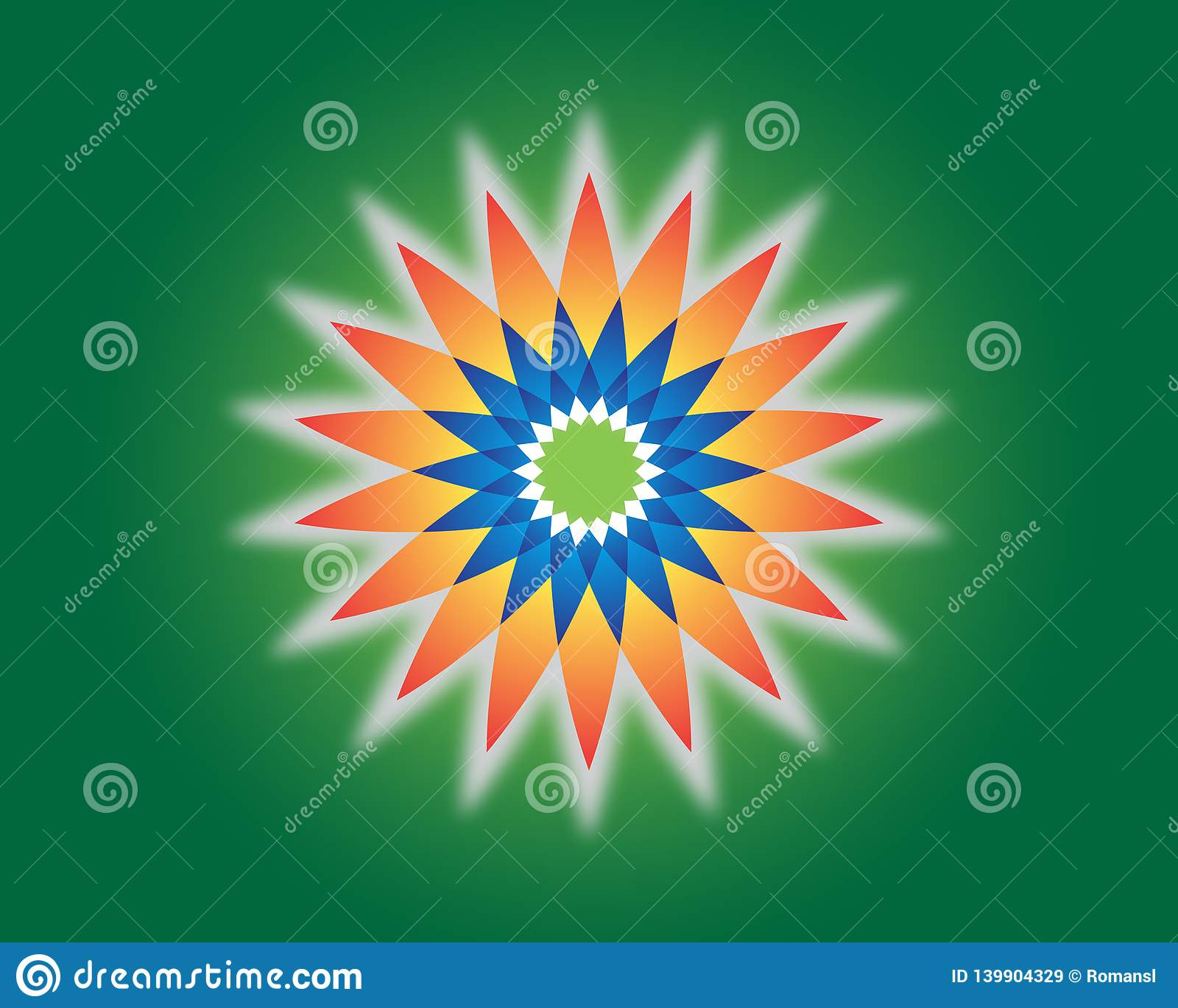 Flower of life. Sacred geometry. Vector spiritual symbol. Blue and red neon vector illustration on green background