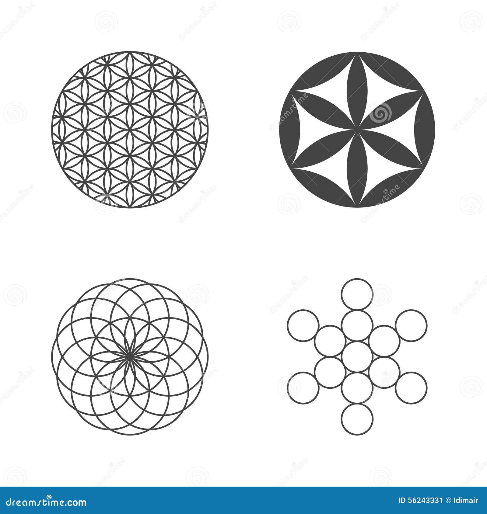 flower of life set of icons design elements stock vector image 56243331. Black Bedroom Furniture Sets. Home Design Ideas