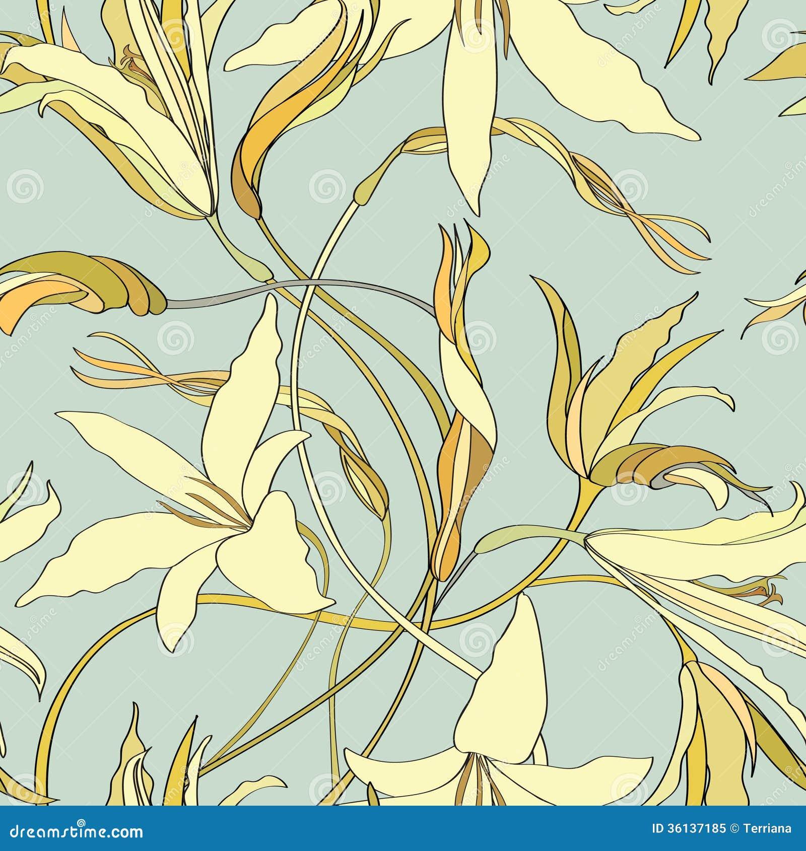 Flower Lily Tileable Wallpaper Stock Illustration
