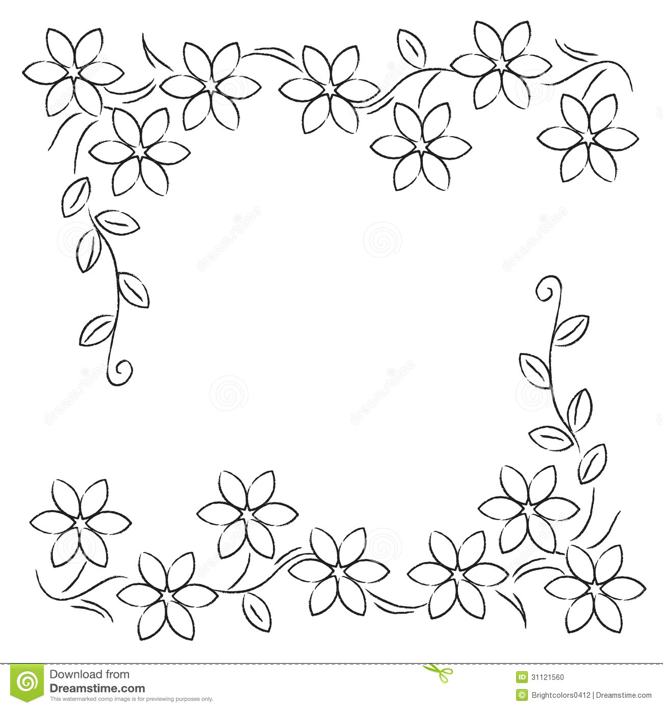 Decorative Black Flower Border Stock Image: Flower Line Border Black White Stock Illustration