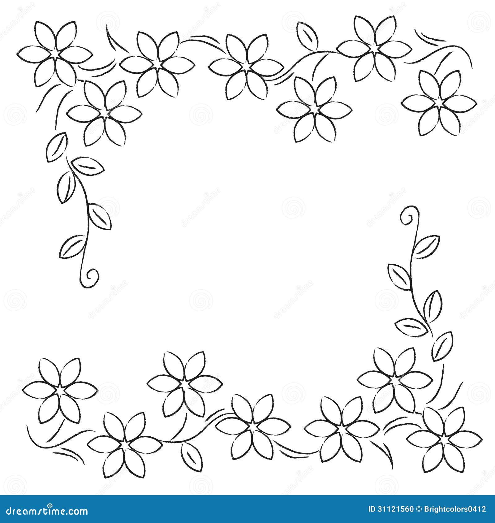 Flower Line Border Black White Stock Photo - Image: 31121560