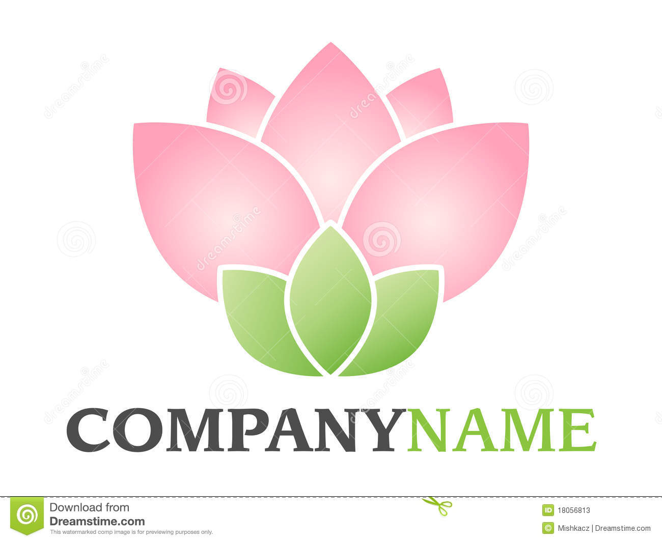 ... pink green blossom floral lotus (or rose) icon on white background