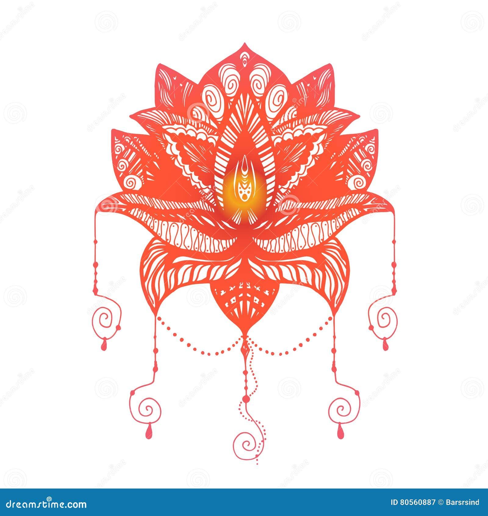 Flower Lotus Tattoo Stock Illustration Illustration Of Flower