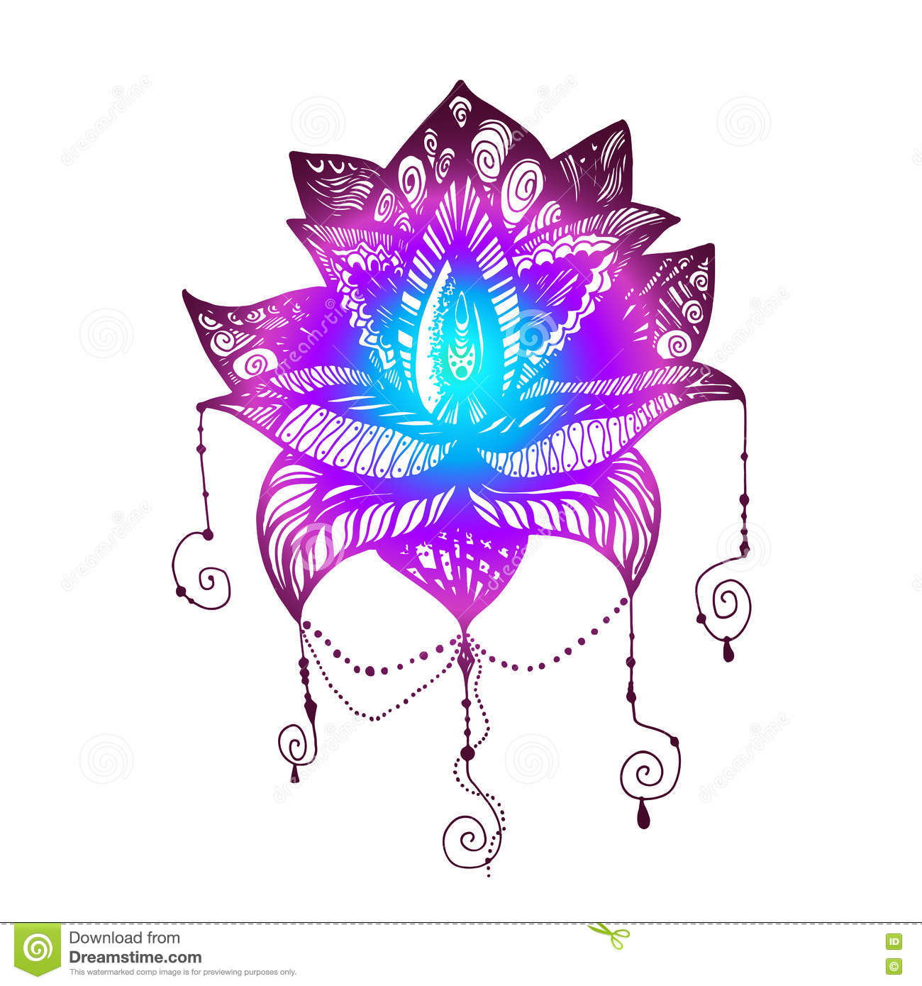 Flower lotus tattoo stock illustration illustration of bohemian flower lotus magic symbol for print tattoo coloring bookfabric t shirt cloth in boho style tribal lotus design vector izmirmasajfo