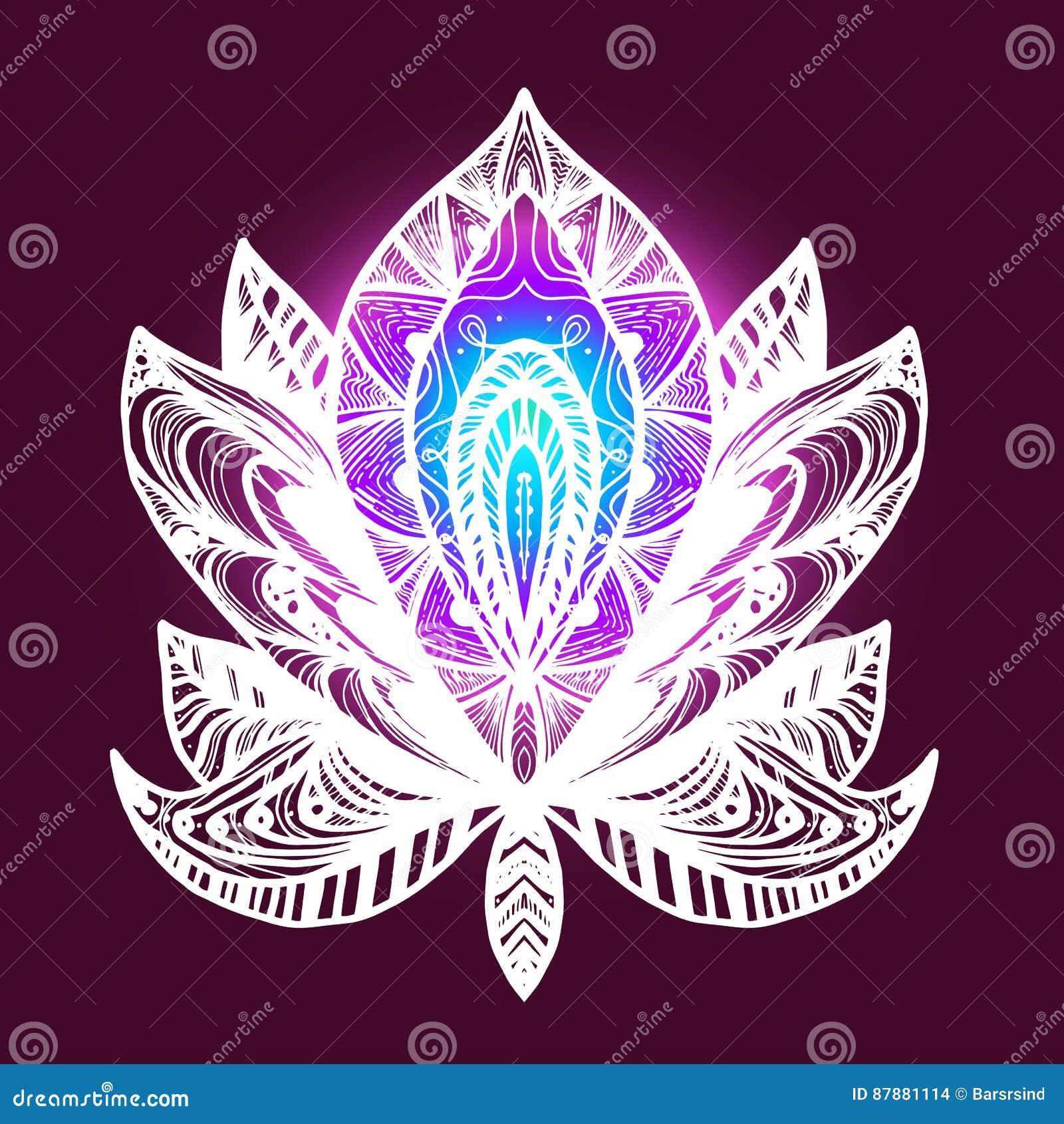 Flower lotus tattoo stock illustration illustration of decor 87881114 flower lotus magic symbol for print tattoo coloring bookfabric t shirt cloth in boho style tribal lotus design vector izmirmasajfo