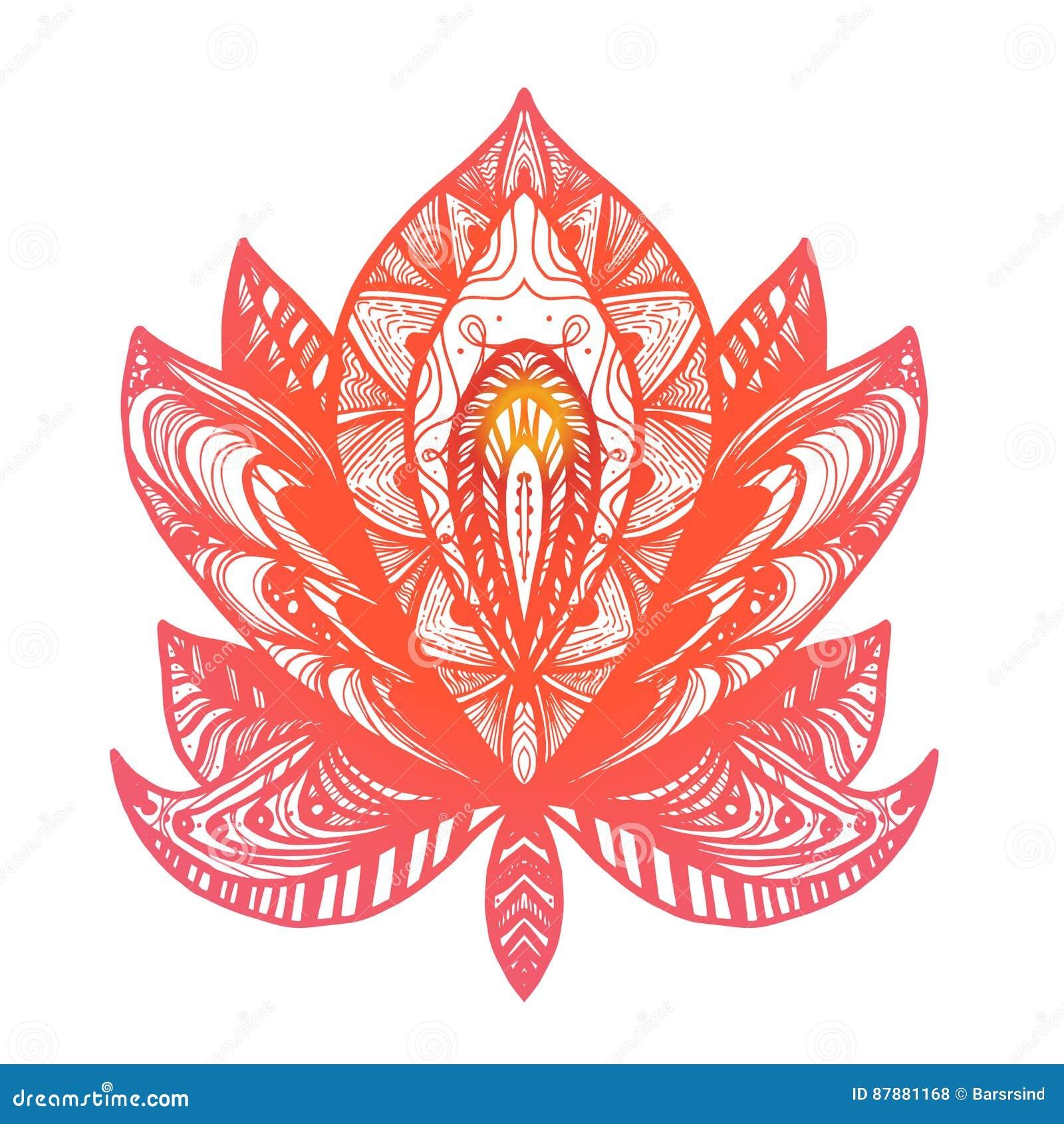 Flower Lotus Tattoo Stock Illustration Illustration Of Flora 87881168