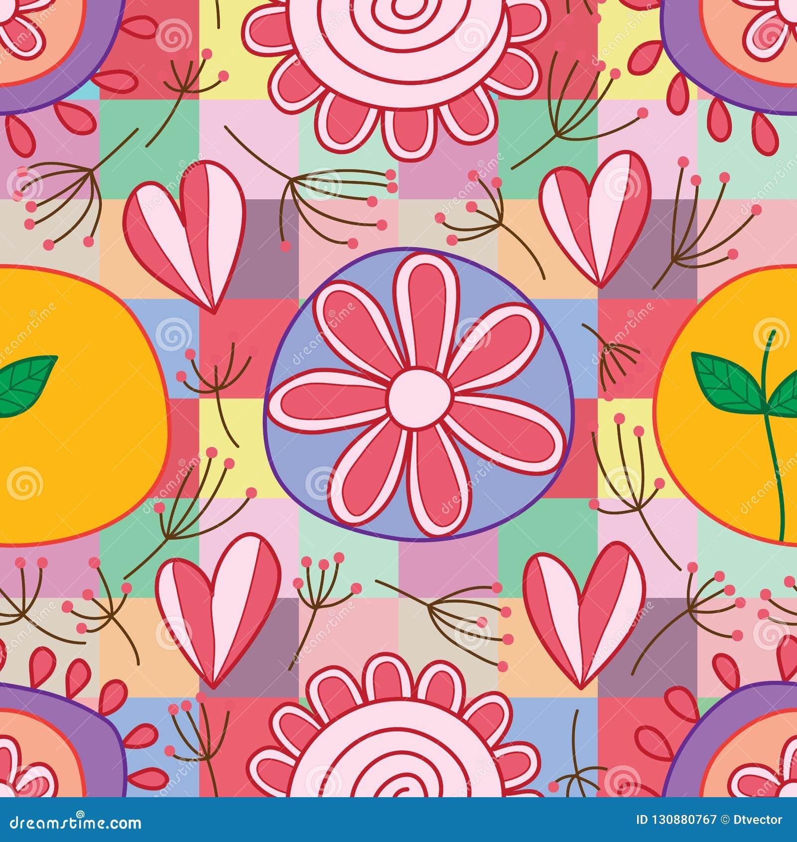 Flower love leaf dandelion round square style seamless pattern