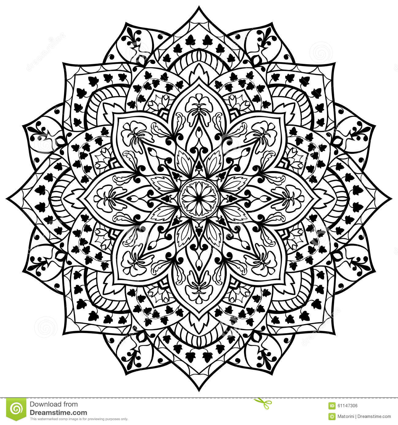 Stock Illustration Flower Mandala Black Lines Vector White Background Round Element Decor Stylized Ivy Leaves Template Any Image61147306 on simple mosaic tile patterns