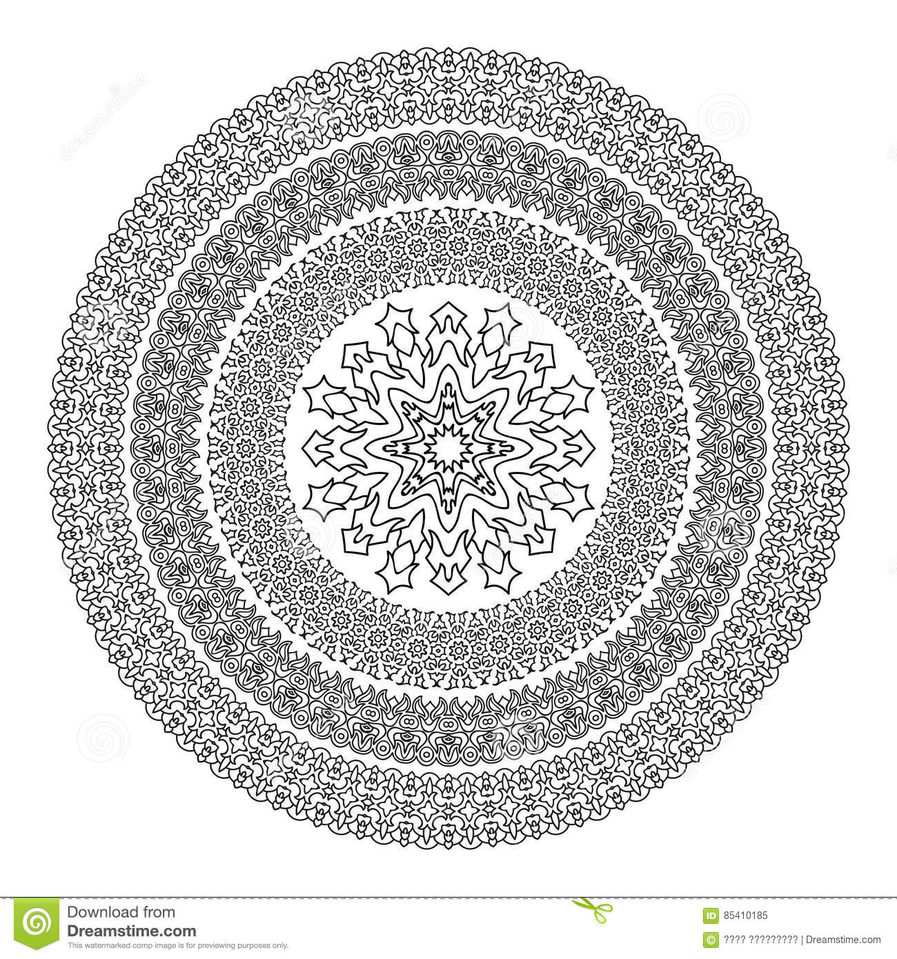 flower mandala for coloring book black and white ethnic henna