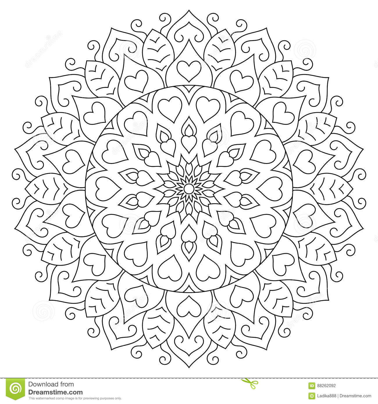 Flower Mandala With Hearts. Coloring Page For Stock Vector ...