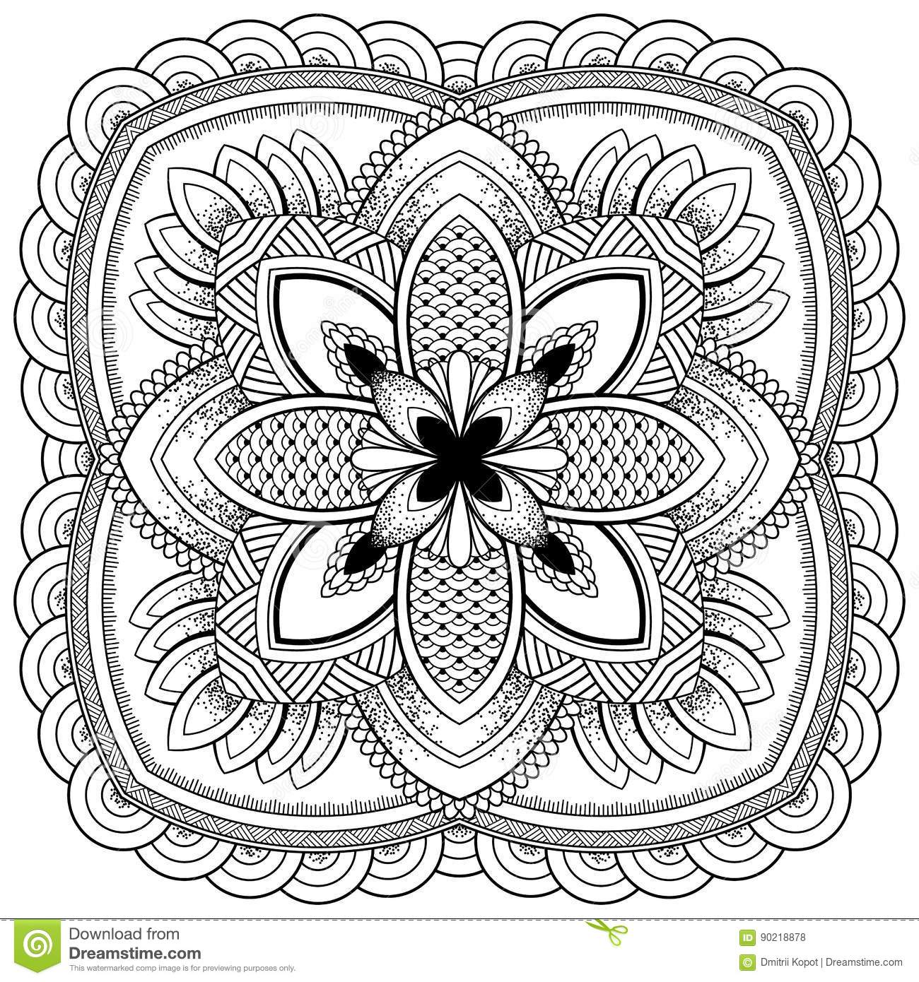 Oriental Pattern Vector Illustration Motifs Is Islam Arabic Indian Moroccan Spain Turkish Pakistan Chinese Mystic Ottoman Coloring Book Page