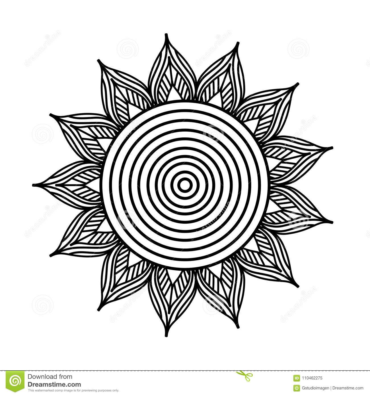 Download Flower Mandala Ornament Decorative Element Oriental Adult Coloring Book Page Stock Vector