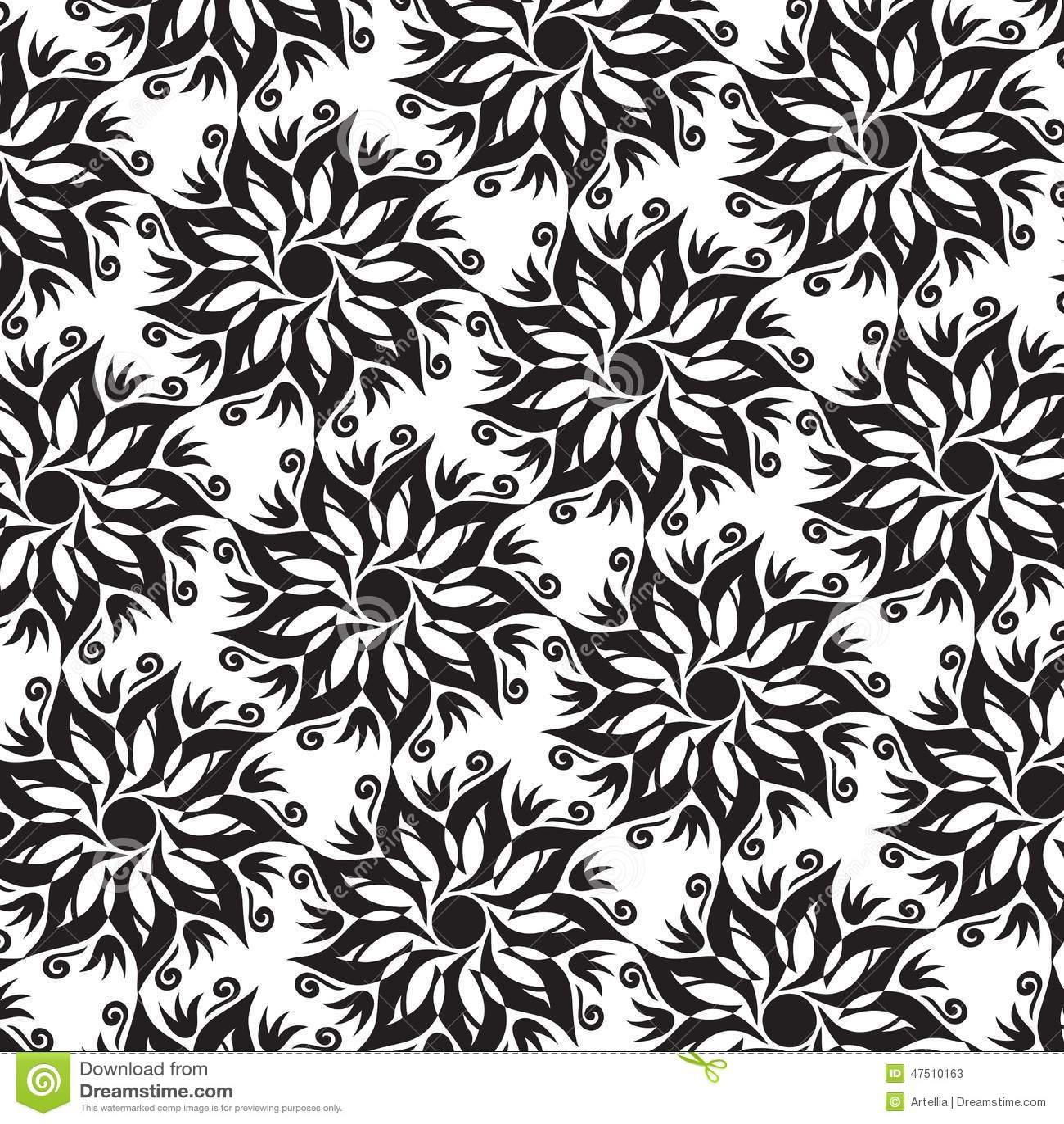 flower mandala seamless pattern black and white colors stock vector image 47510163. Black Bedroom Furniture Sets. Home Design Ideas
