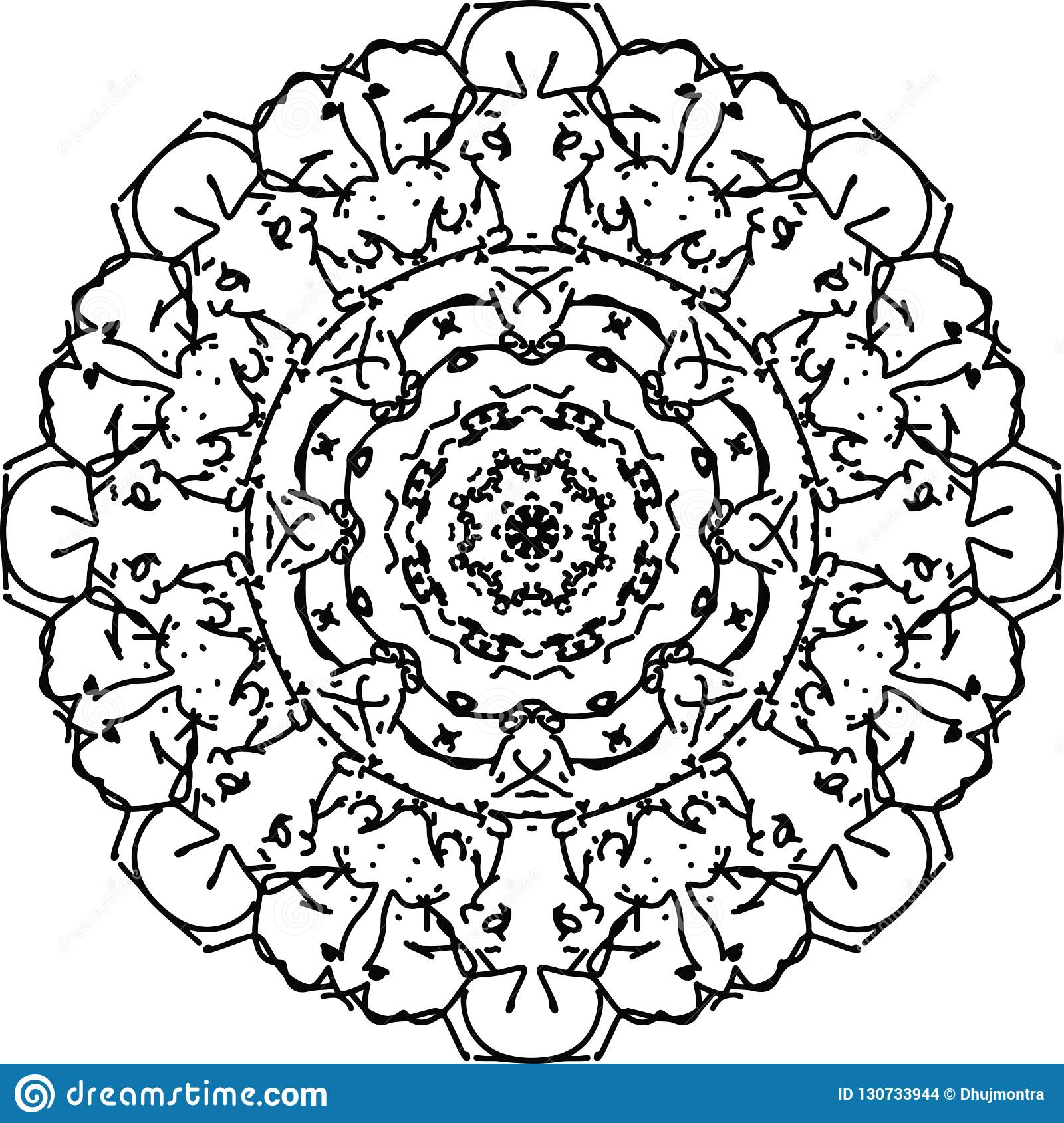Flower Mandala Tattoo Drawing In Black And White With Wide Life