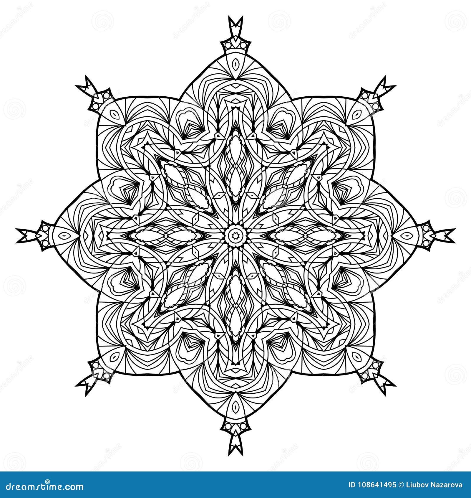 Flower Mandala Vintage Decorative Elements Oriental Pattern Illustration Coloring Book Page Islam Arabic Indian Moroccan Spain Turkish Mystic