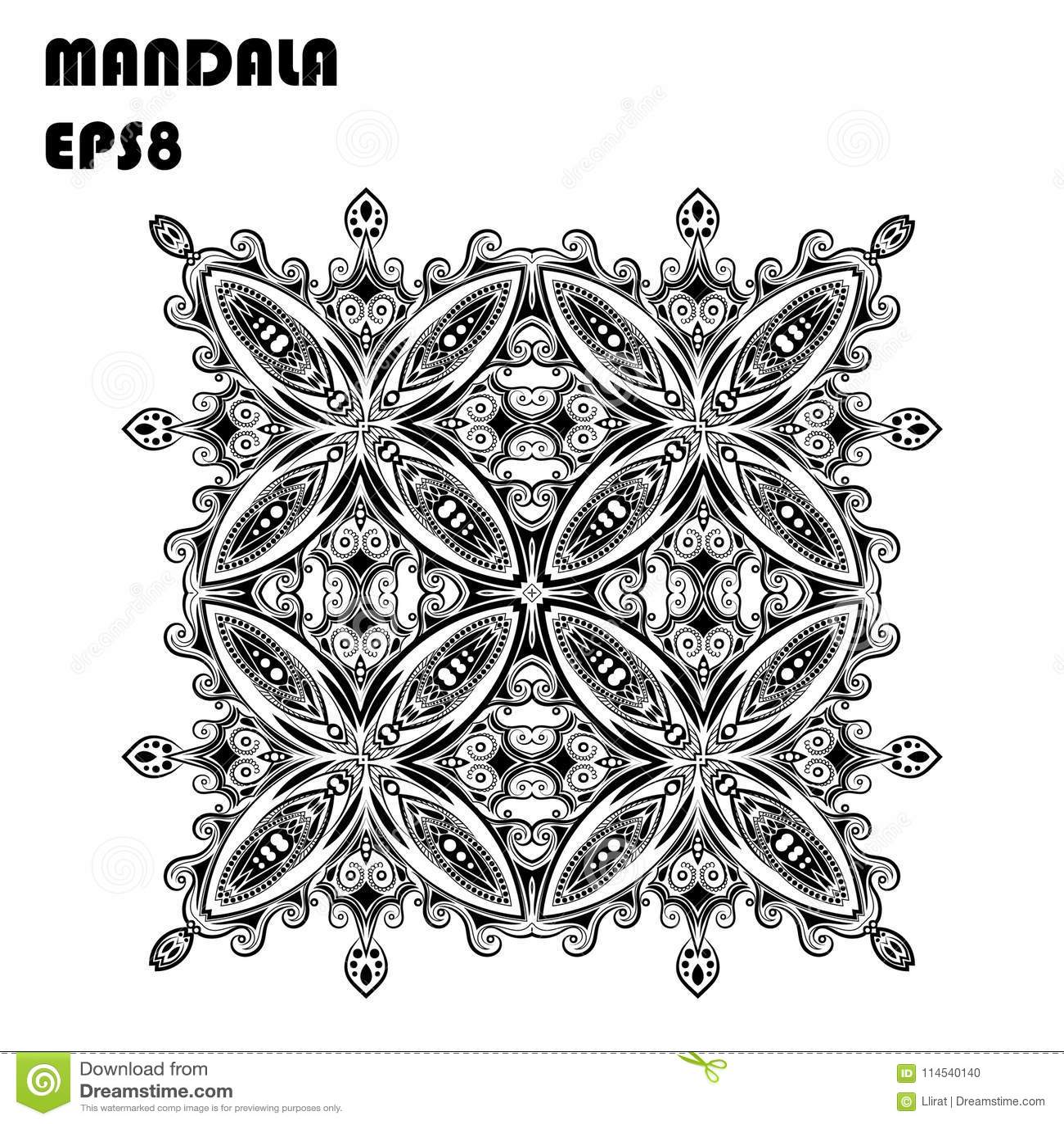 Flower Mandala. Vintage Decorative Elements. Oriental Pattern, Islam ...