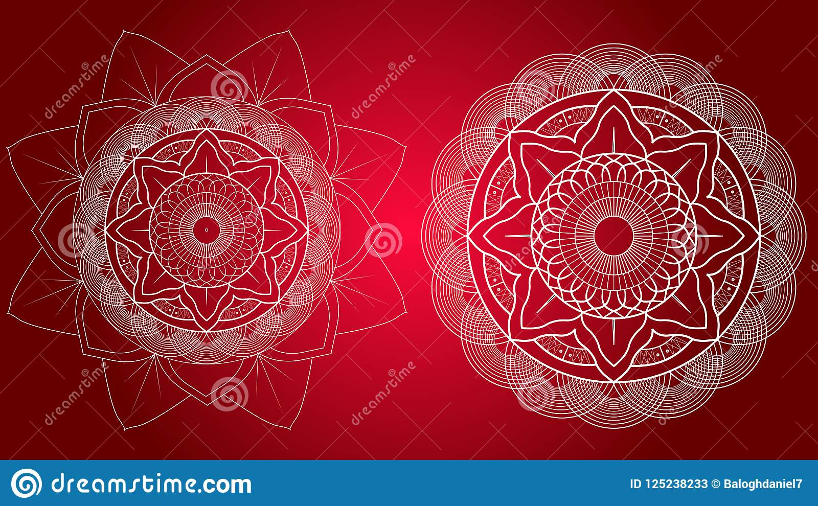 Flower Mandalas. Vintage Decorative Elements. Oriental pattern, illustration.