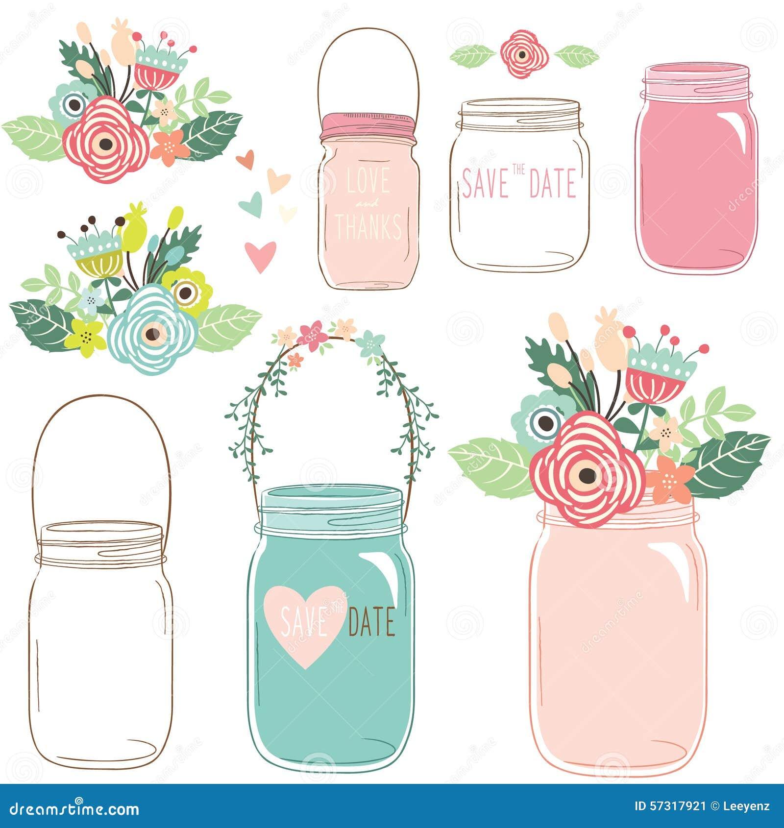 Flower Mason Jar Stock Vector Illustration Of Airtight