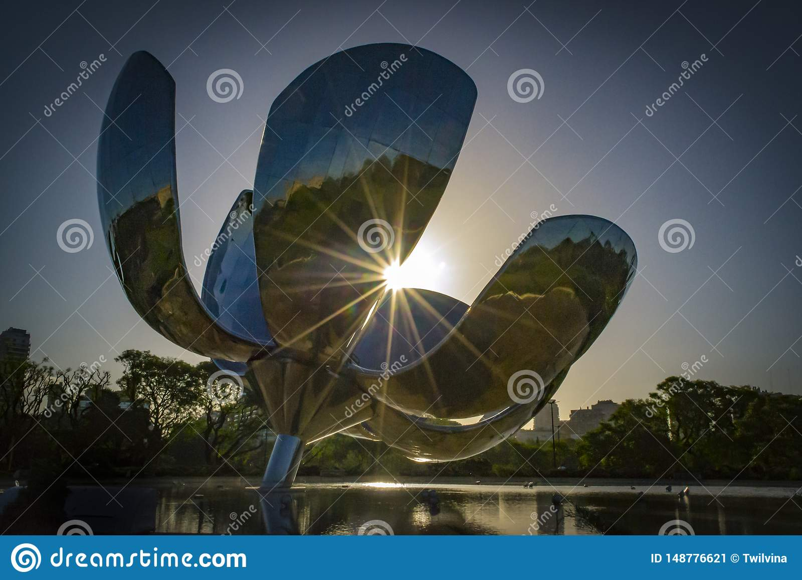 Flower moving sculpture in Buenos Aires Argentina