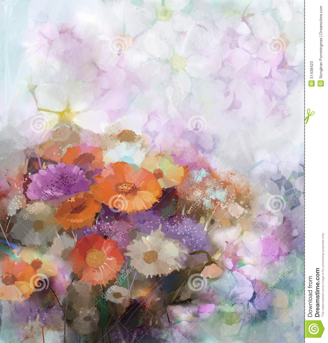 Flower oil painting background