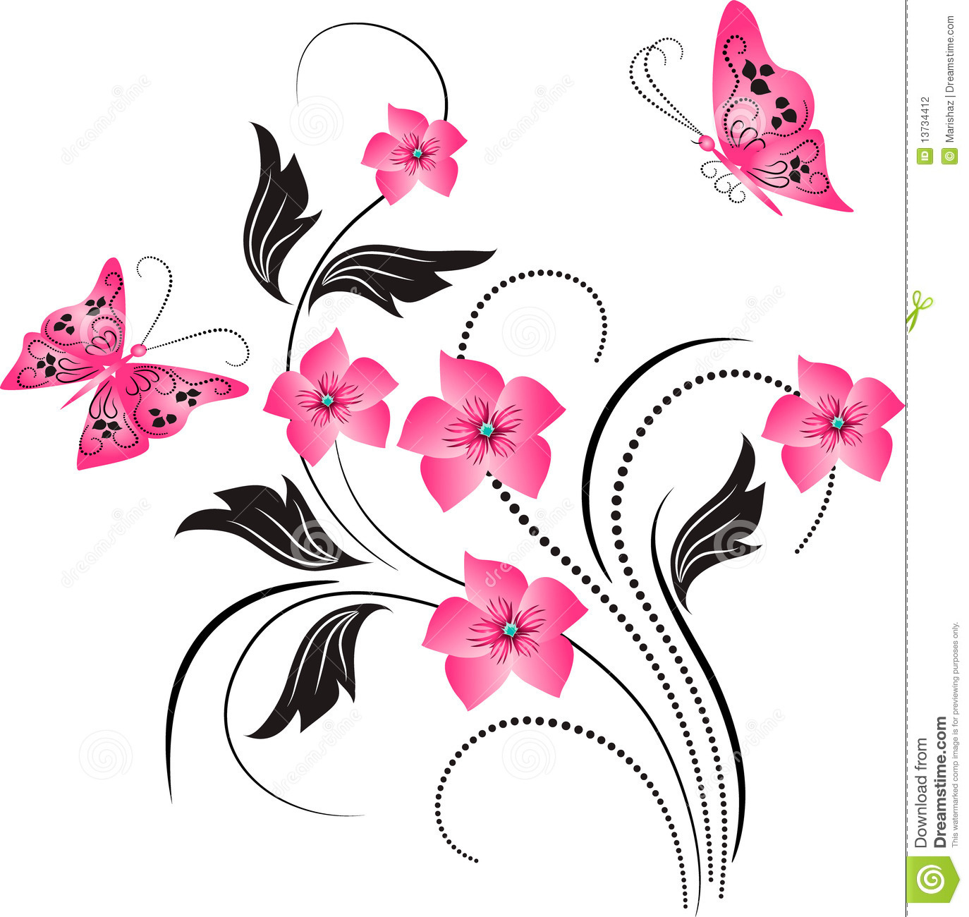 Flower Ornament With Butterfly Stock Photography - Image: 13734412
